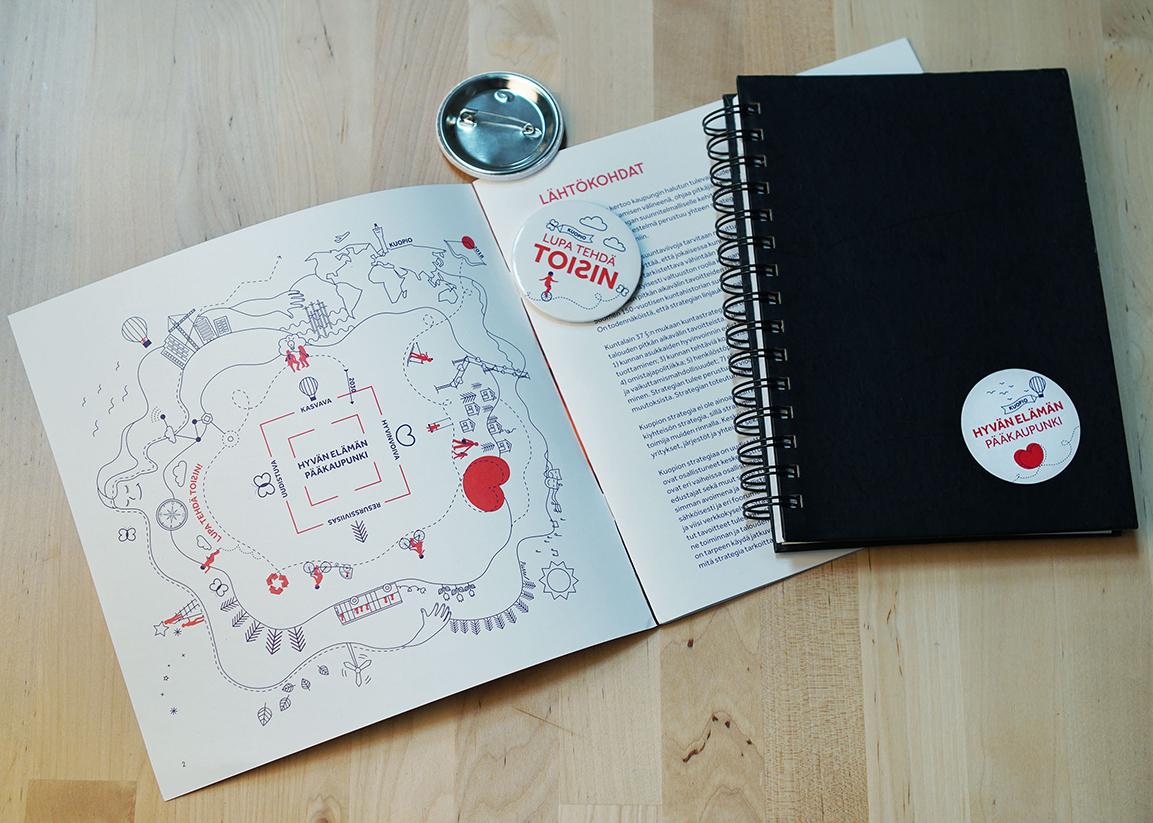 Kuopion kaupungin strategiakuvaa käytetään muun muanssa strategiakirjasessa, pinsseissä, tarroissa ja diaesityksissä.