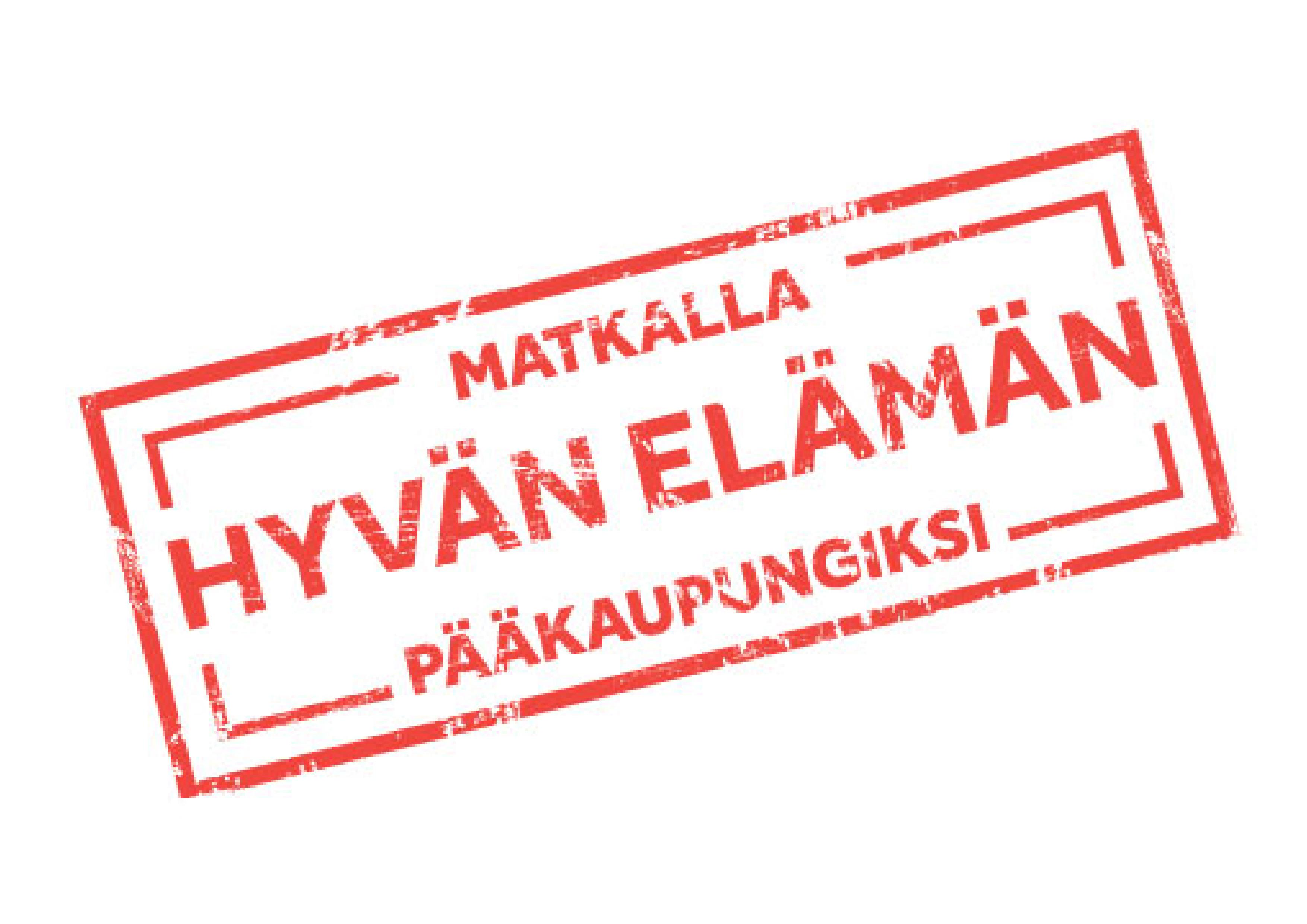 """Kuopion kaupungin visioleimassa on teksti """"Matkalla hyvän elämän pääkaupungiksi"""""""