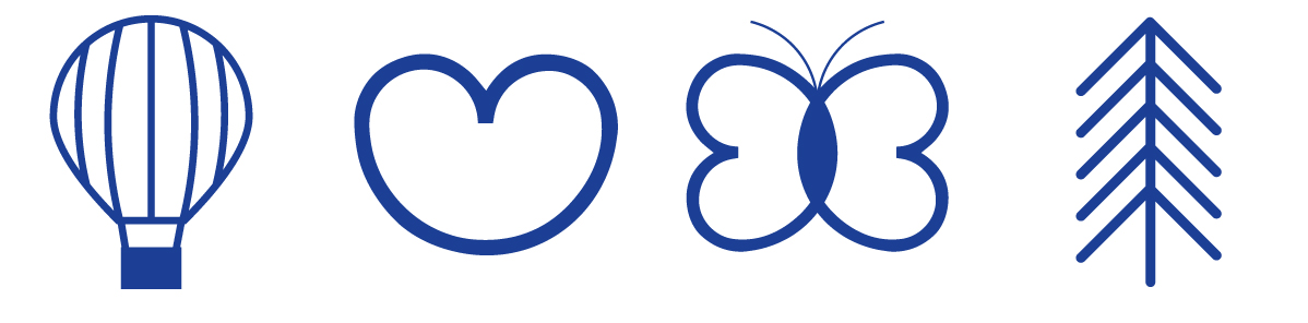Kuopion kaupungin strategiakuvasta on irrotettu symbolit kuumailmapallo, sydän, perhonen ja puu