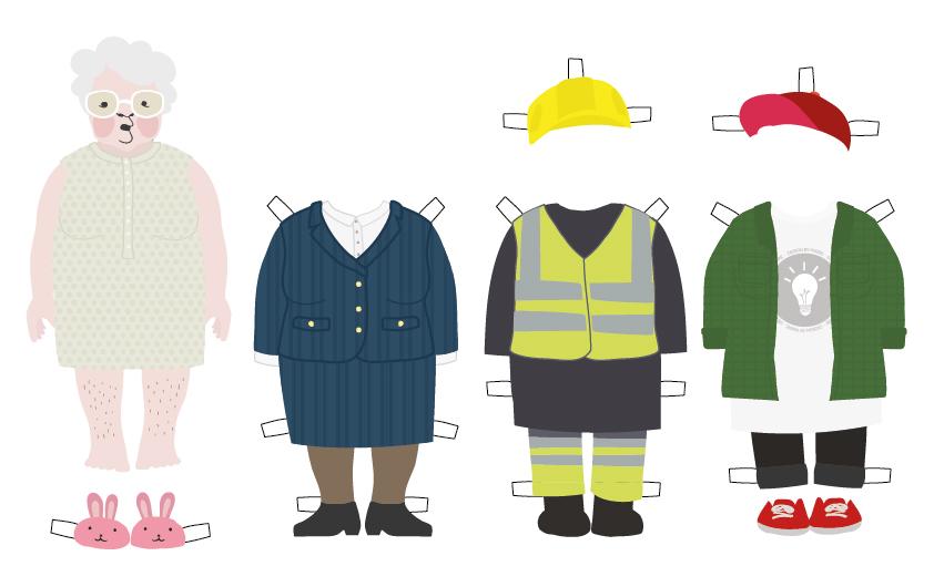 Mummohahmo paperinukkena ja asuvaihtoehtoina vieressä jakkupuku, työmiehen vaatteet ja nuoren henkilön vaatteet
