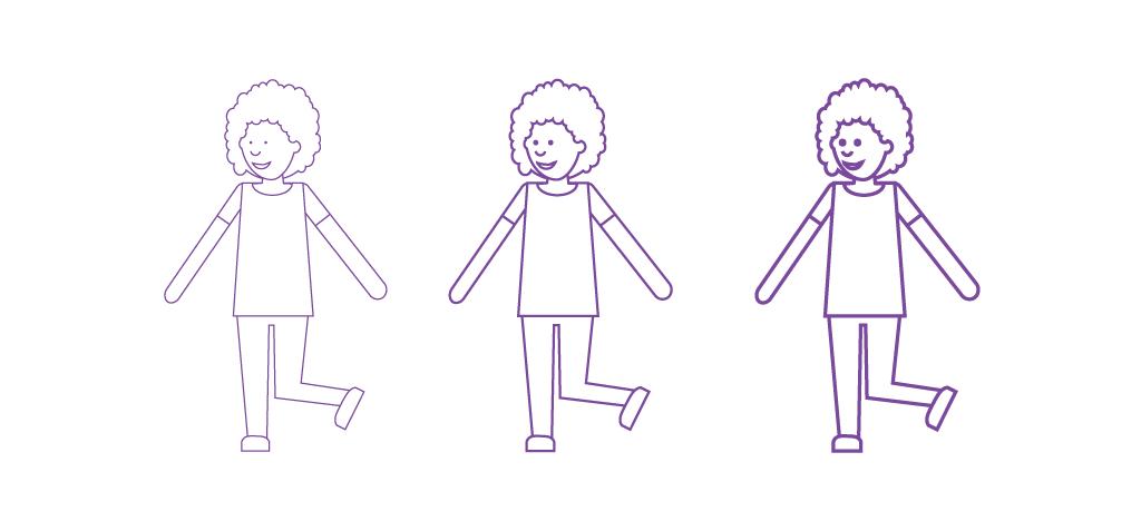 Sopiva viivan paksuus tekee kuvasta saavutettavan. Kuvassa on sama kuvio esitetty kolmella eri paksuisella viivalla.