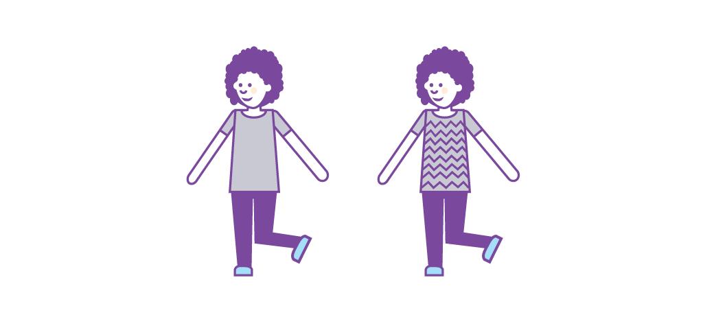 Esimerkkinä on piirretty sama hahmo kahdella eri tavalla. Toisessa on vähän yksityiskohtia ja toisessa paljon. Kuva esittää niiden viestinnällisen eron.
